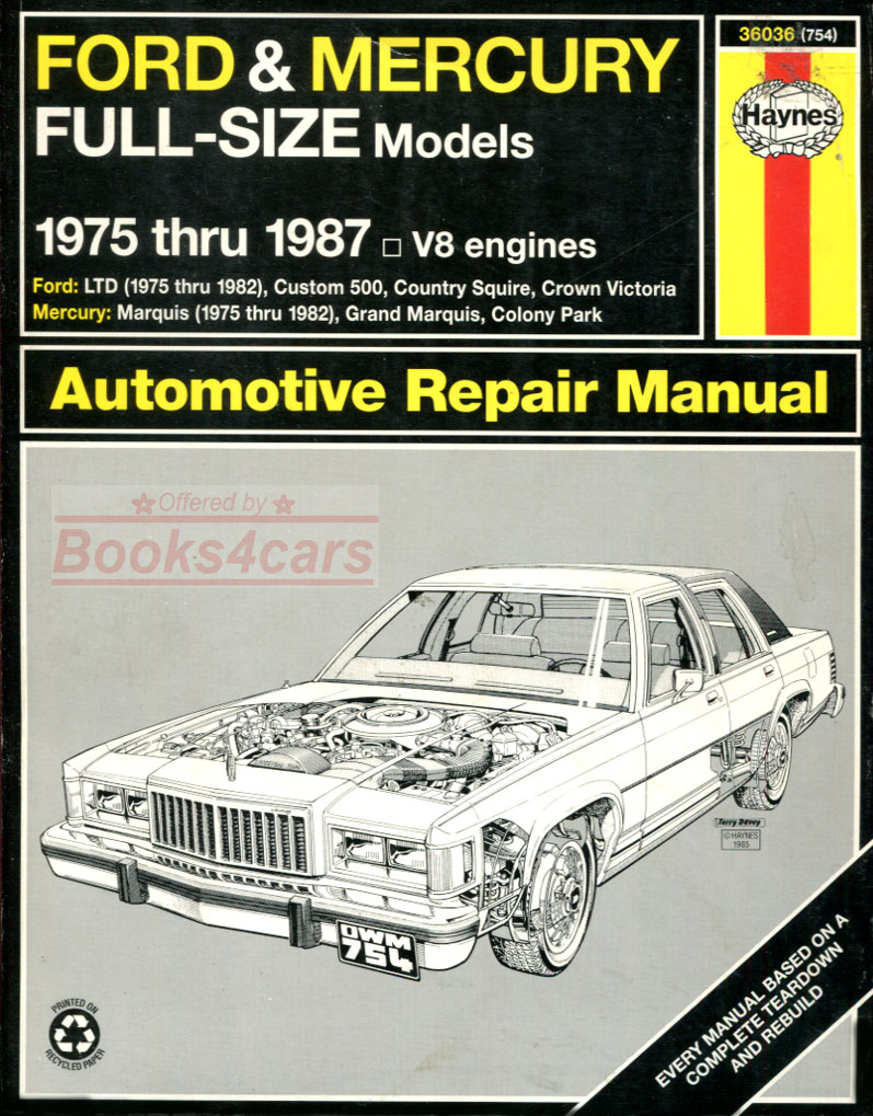 REAL BOOK Shop Service Repair Manual by Haynes for all 1975-1987 Ford &  Mercury Full-Size models with V8 engines
