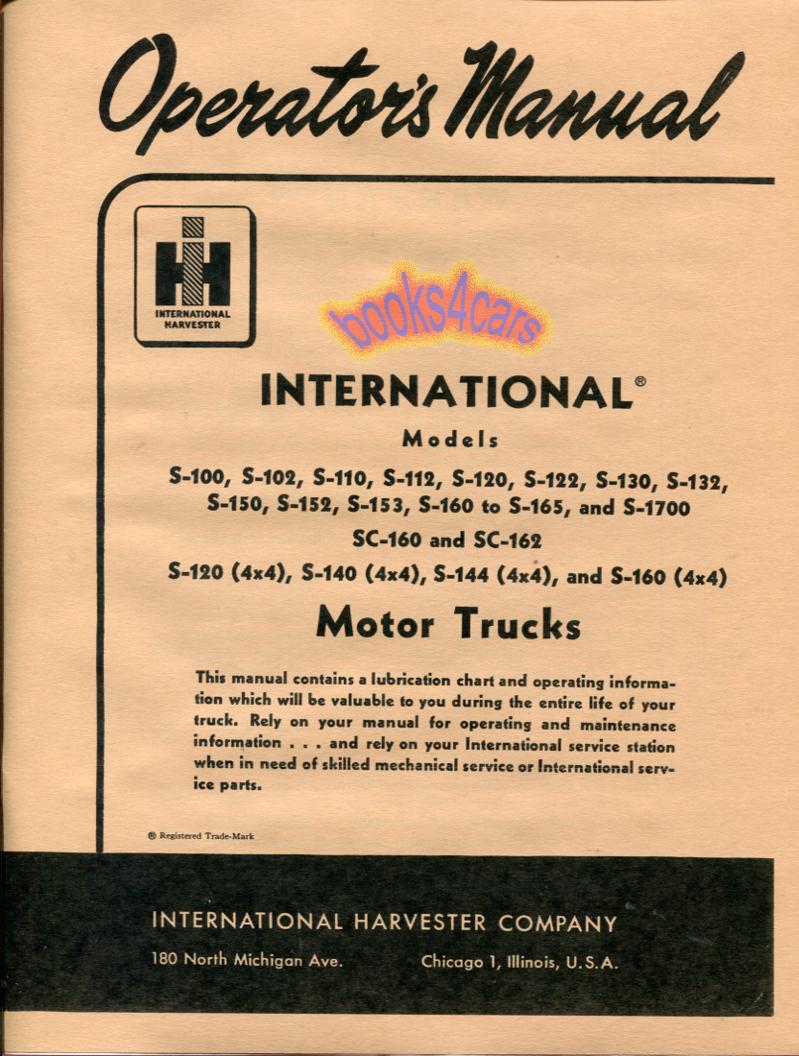 owners manual operators book international truck 1955 1957 1956 s ebay rh ebay com international truck user manual 2001 international truck owners manual