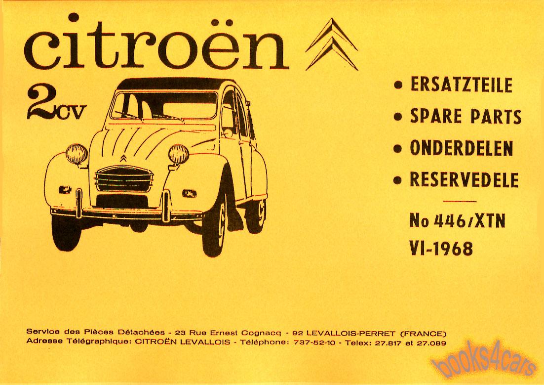 Citroen 2cv Parts Manual Book 2 Cv 2 Cv Shop Service Parts