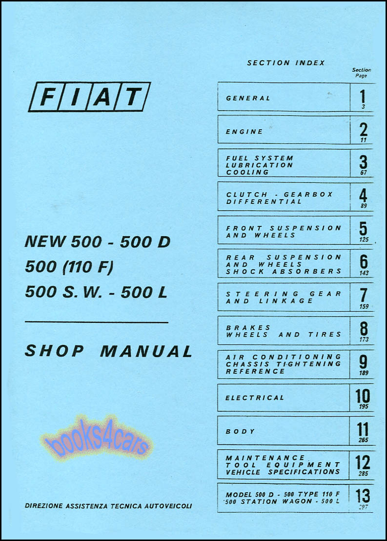 FIAT 500 SHOP MANUAL BOOK SERVICE REPAIR ABARTH TOPOLINO NOUVA 500L 500D  PUCH GT | eBay