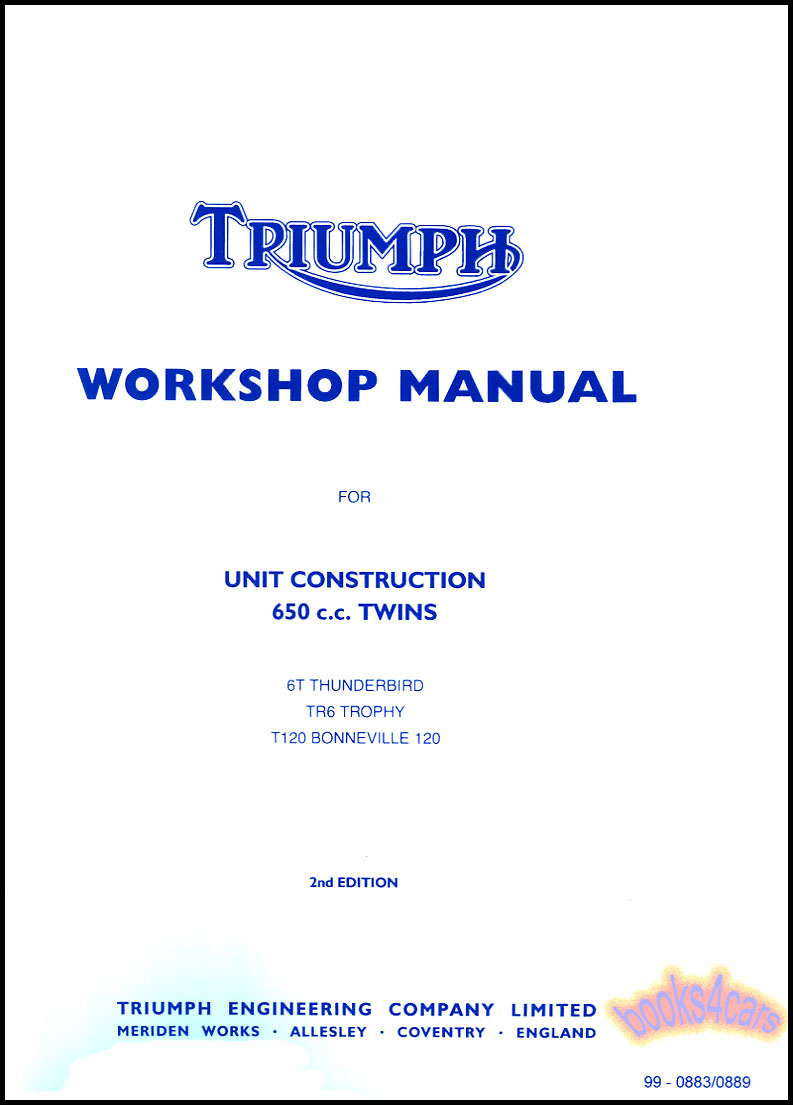 Bikes Manuals At 1969 Cb175 Wiring Diagram Shop Service Workshop Repair Manual For Triumph 650 Motorcycle 1963 70 66 99 0883