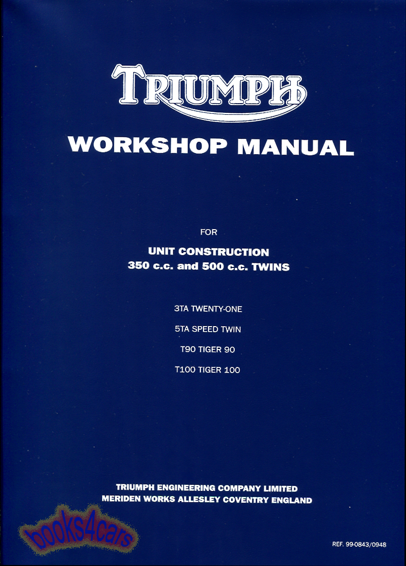 Triumph Bikes Manuals At Wiring Diagram 1968 T 100 C 63 74 Shop Service Workshop Repair Manual By For 350 500 68 99 0843