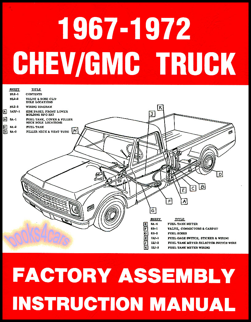 chevrolet gmc truck shop assembly manual pickup restoration c10 c20 1967 1972 ebay. Black Bedroom Furniture Sets. Home Design Ideas