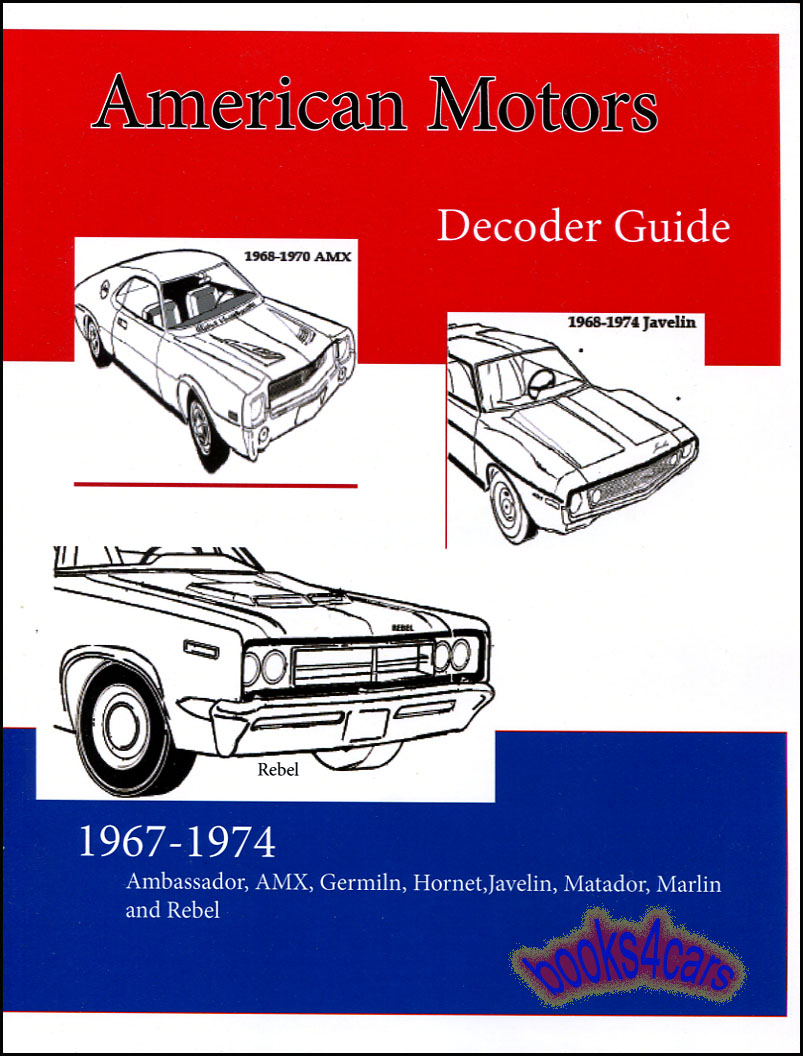 67-74 AMC Decoder Manual covers all VIN & door tag information plus axle  codes & engine information by Thomas Mulvaugh (70_STAMC76) ...