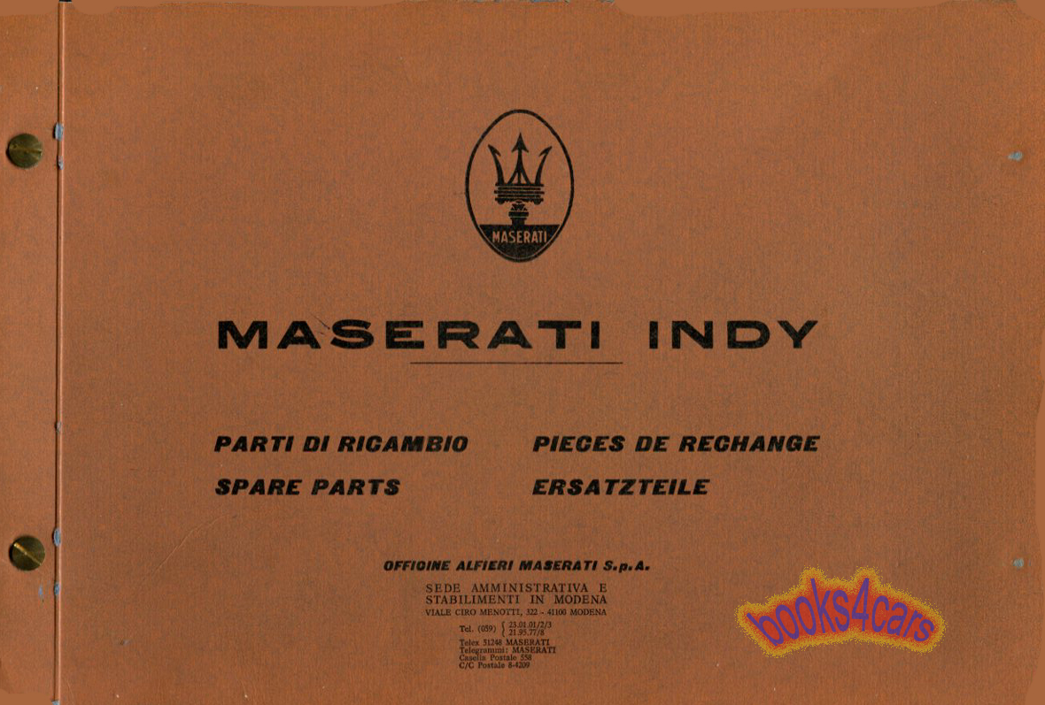Maserati Manuals At Spyder Wiring Diagram 69 73 Indy Parts Manual By 71 Masindyp