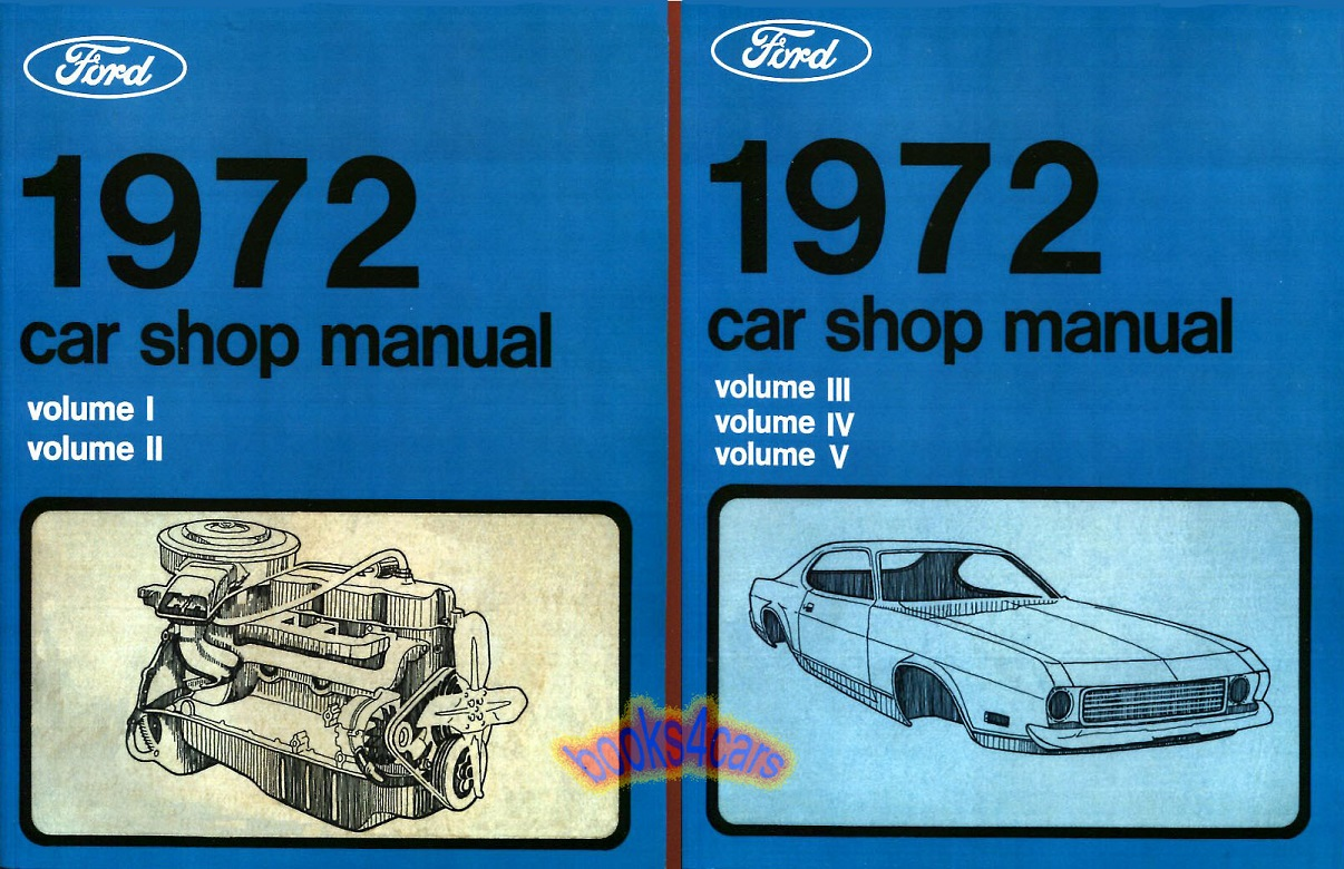 Ford Torino Shop Service Manuals At 1971 Engine Wiring Diagram Repair Manual 5 Volume Set For All Cars Incl Continental Mustang Town Car Galaxie Cougar Ranchero Pinto Maverick Comet Montego And