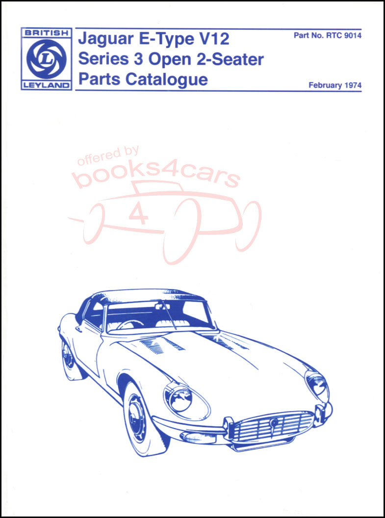 Jaguar E Type Series 2 4.2 Spare Parts Catalog 1969 1970 1971 Xke Grand Touring