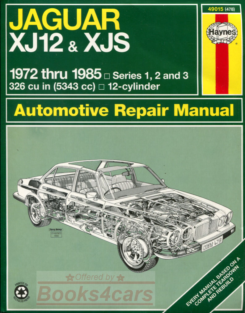 72-85 Jaguar XJS XJ12 V12 Shop Service Repair Manual by Haynes (80_49015)  ...