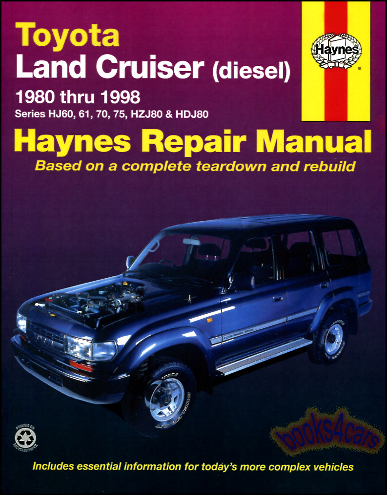 land cruiser shop manual diesel service repair toyota book haynes hj rh ebay com 2000 Toyota Land Cruiser 80 series land cruiser factory service manual