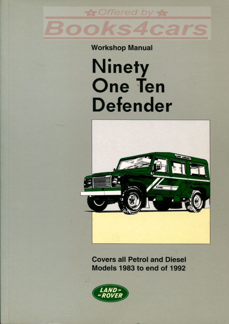 83-92 Defender 90 & 110 Factory Shop Service Repair Manual by Land Rover:  842 pages covering all gas & diesel versions including 4 cyl & V8.