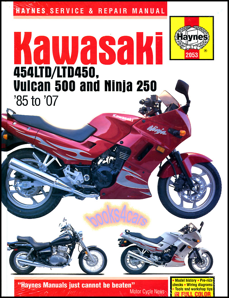 REAL BOOK over 250 page Shop Service Repair Manual for 1985-1990 N450  1990-2007 EN500 Vulcan 500 & 1986-2007 E250 Ninja & Ninja R with a complete  step by ...