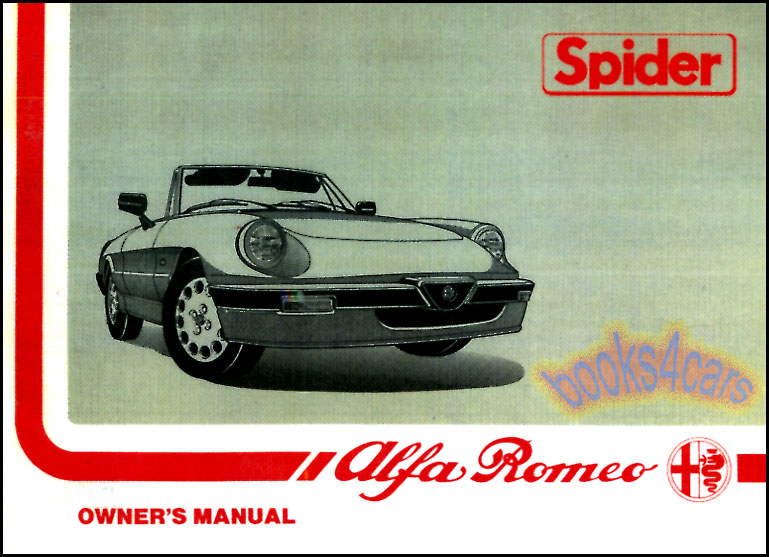 ALFA ROMEO SPIDER OWNERS MANUAL HANDBOOK GUIDE BOOK VELOCE 2000 1972-1979 GTV GT