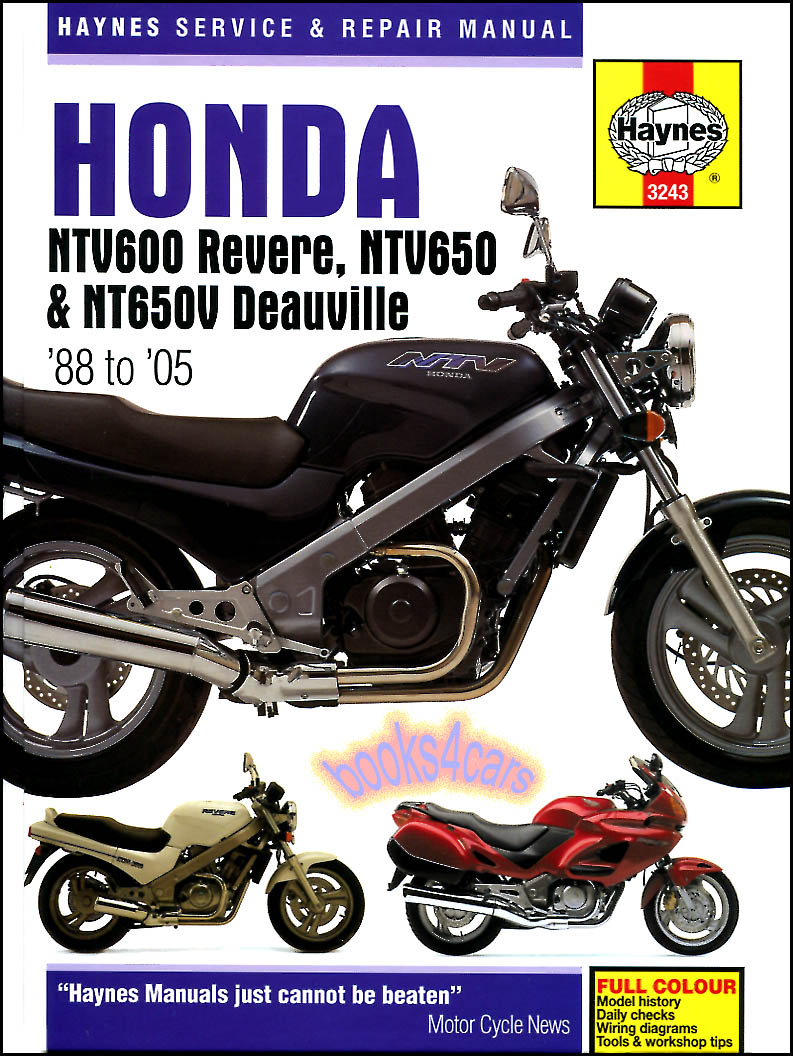 REAL HARDCOVER BOOK over 250 page Shop Service Repair Manual for 1988-2005  Honda NTC600 Revere NTV650 & NT650V Deauville Motorcycles with repair  maintenance ...