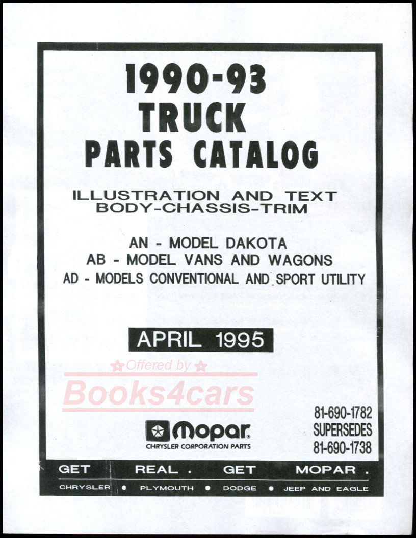 90-93 Parts Manual by Dodge for Dodge Truck all models for Ram D150 D250  D350 & Dakota (915_9405) ...