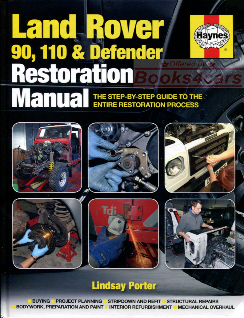REAL HARDCOVER BOOK 250 page Restoration Manual for Land Rover 90 & 110 &  Defender. Book is in New, never-opened condition