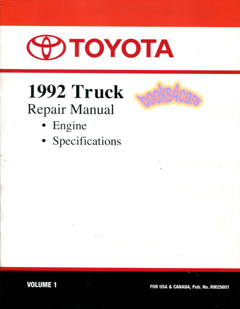 Toyota Truck Manuals At 91 Cressida Wiring Diagram 92 Engine Specification Maintenance Shop Service Repair Manual By 00400rm256u1