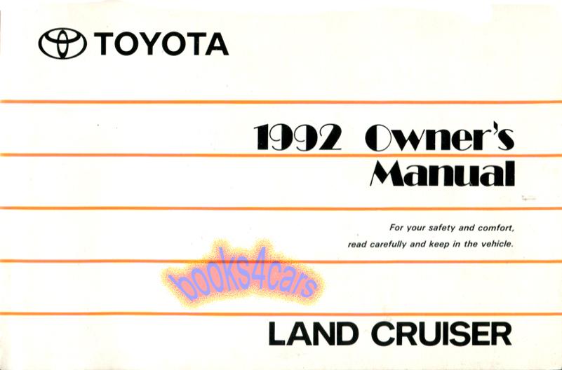 land cruiser owners manual 1992 toyota book handbook guide ebay rh ebay com 1991 Toyota Land Cruiser 1991 Toyota Land Cruiser