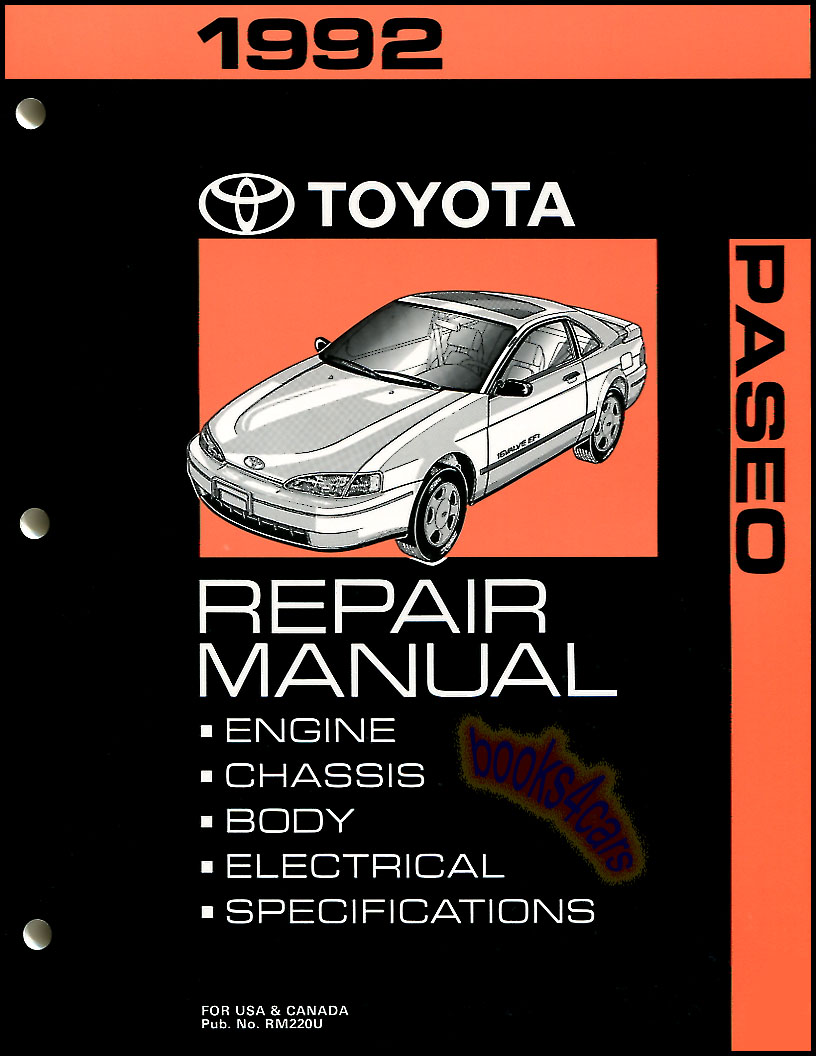 92 Paseo Shop Service Repair Manual by Toyota. (92_00400_RM220), $89.95
