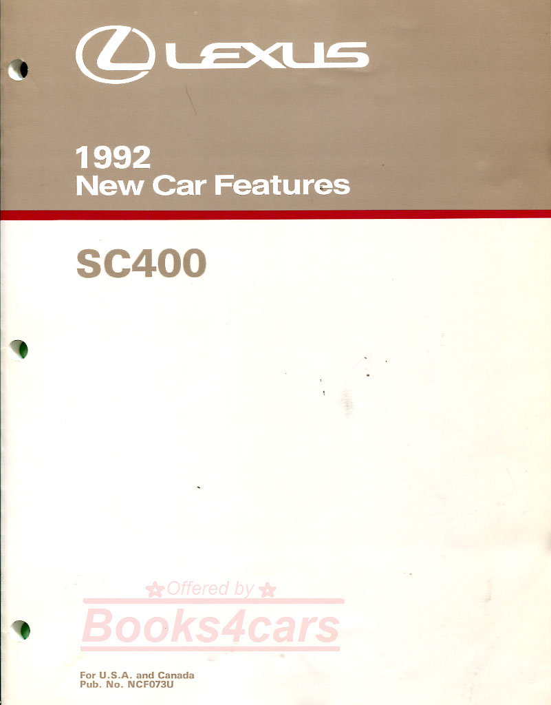 Lexus Sc400 Manuals At 1998 Wiring Diagram 92 Sc 400 New Car Features Manual By 156 Pages Newcar Not A Shop