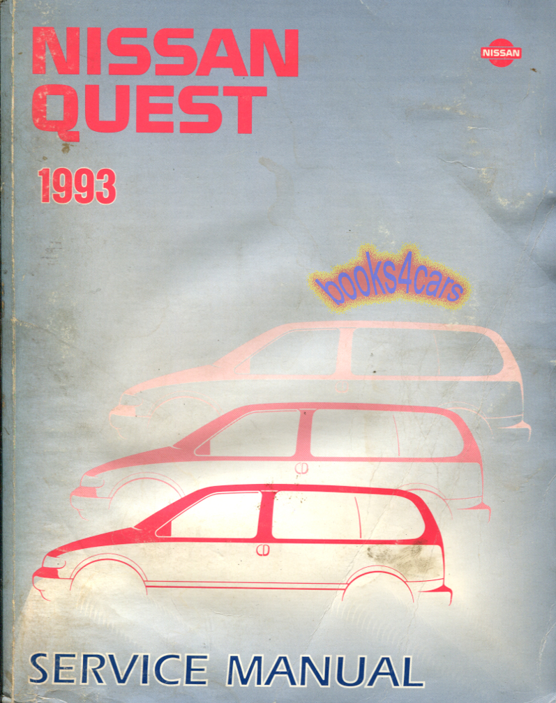 REAL LARGE HEAVY BOOK over 600 pages by Nissan Complete Shop Service Repair  Manual for all 1993 Quest & Villager. Book is in good condition