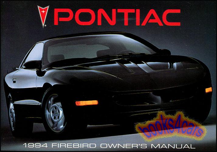 1994 pontiac firebird owners manual handbook guide book trans am rh ebay com 1979 Pontiac Firebird 2017 Pontiac Firebird
