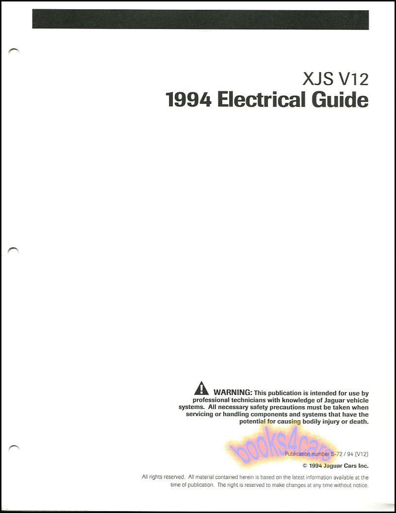 Details about XJS JAGUAR 1994 SHOP ELECTRICAL MANUAL V12 WIRING DIAGRAMS on