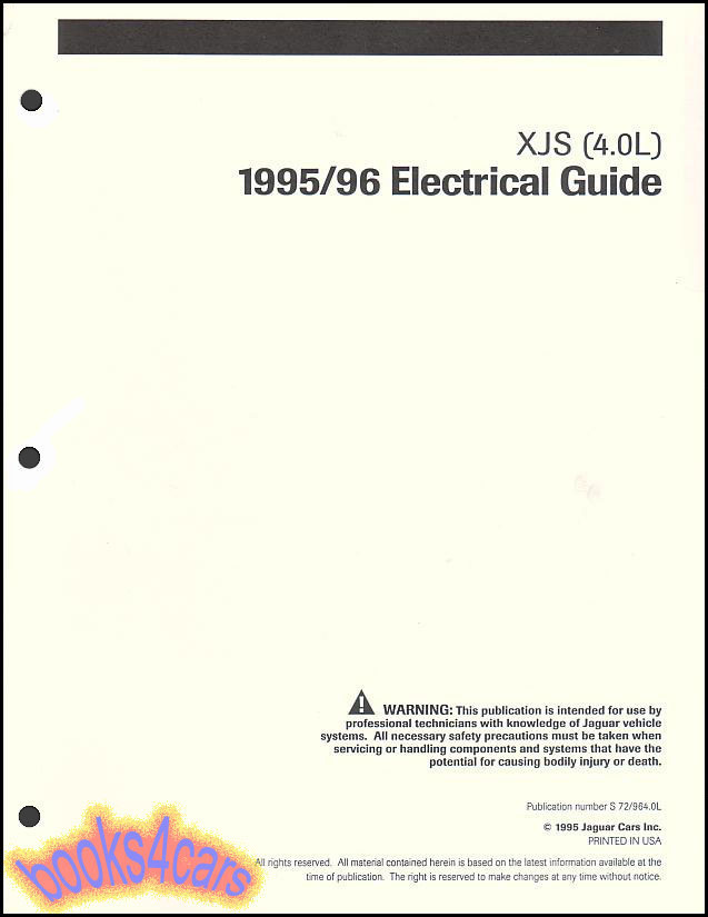 95 96 jaguar xjs shop manual electrical guide wiring diagrams 4 0 does not apply