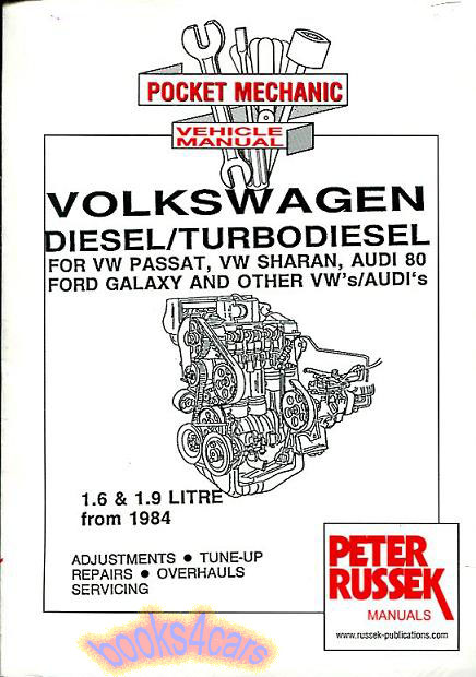 volkswagen diesel shop manual 1 6 1 9 engine service repair book rh ebay com volkswagen sharan service manual pdf sharan 1998 service manual