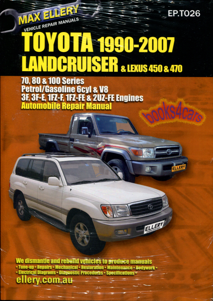 90-2007 Toyota 4X4 70 80 100 series Land Cruiser Shop Service Repair Manual  Diesel engines including Turbo over 500 pgs incl engines 1HZ 1HD-T 1HD-FT  ...