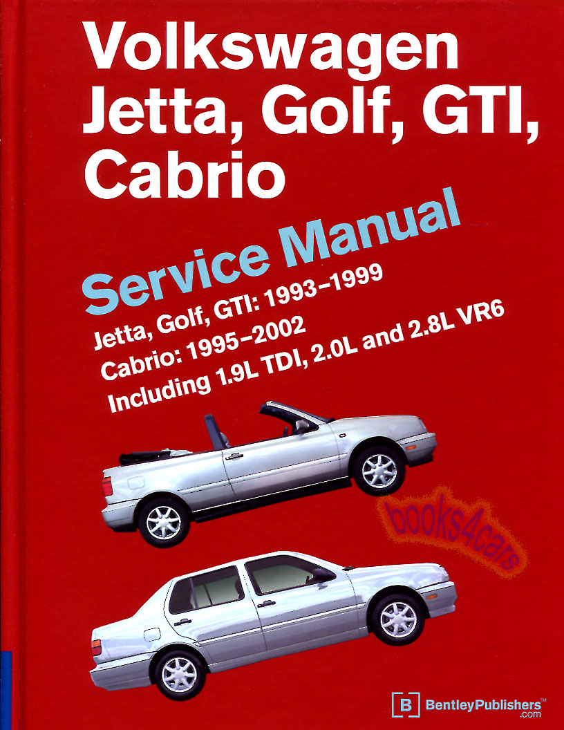 REAL BOOK HARDCOVER 736 page official factory Shop Service Repair Manual  for all 1993-1999 Golf Jetta GTI & 1995-2002 Cabrio. Gas & Diesel. The best  in New, ...