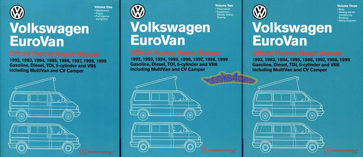 Eurovan Shop Manual Service Repair Book Volkswagen Bentley Vw Workshop 92