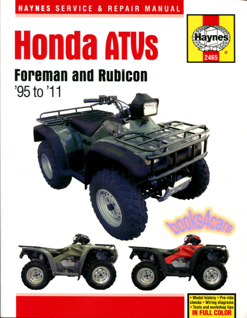 Honda Bikes Manuals At 89 350 Fourtrax Wiring Diagram 95 2011 Foreman Rubicon 400 450 Atv Shop Service Repair Manual By Haynes For 985 2465