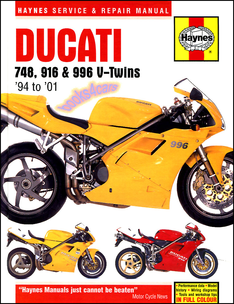 REAL HARDCOVER BOOK 288 page Shop Service Repair Manual for all 1994-2001  Ducati 748