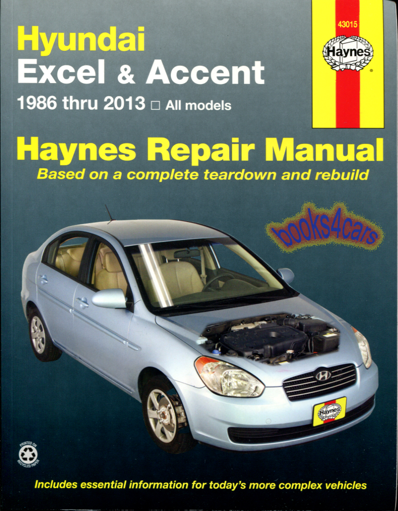 86-13 Hyundai Excel & Accent Shop service repair Manual by Haynes  (98_43015) ...