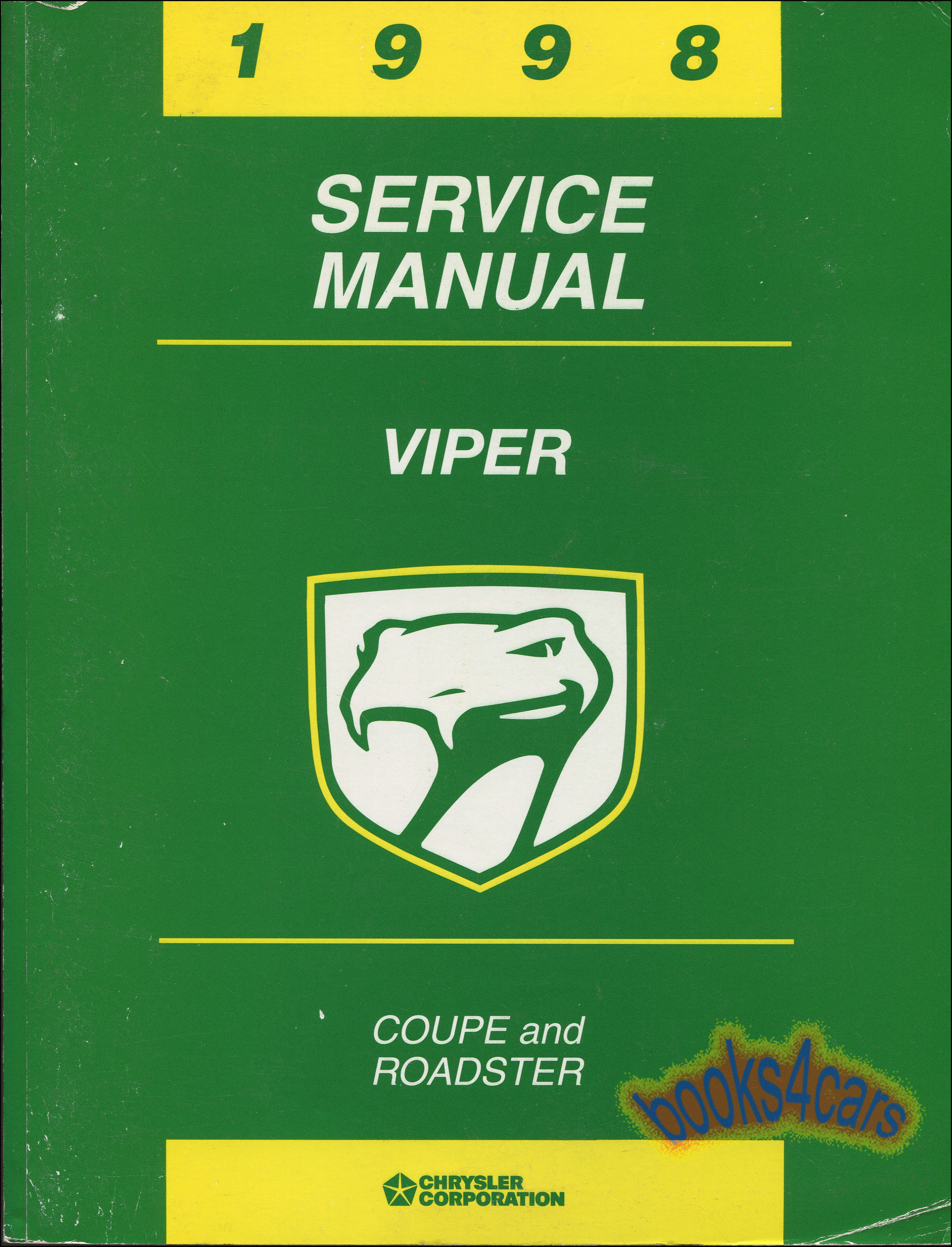 REAL BOOK over 500 page Factory Shop Service Repair Manual for 1998 Dodge  Viper Coupe & Roadster with Service & Repair Procedures for Engine  Transmission ...