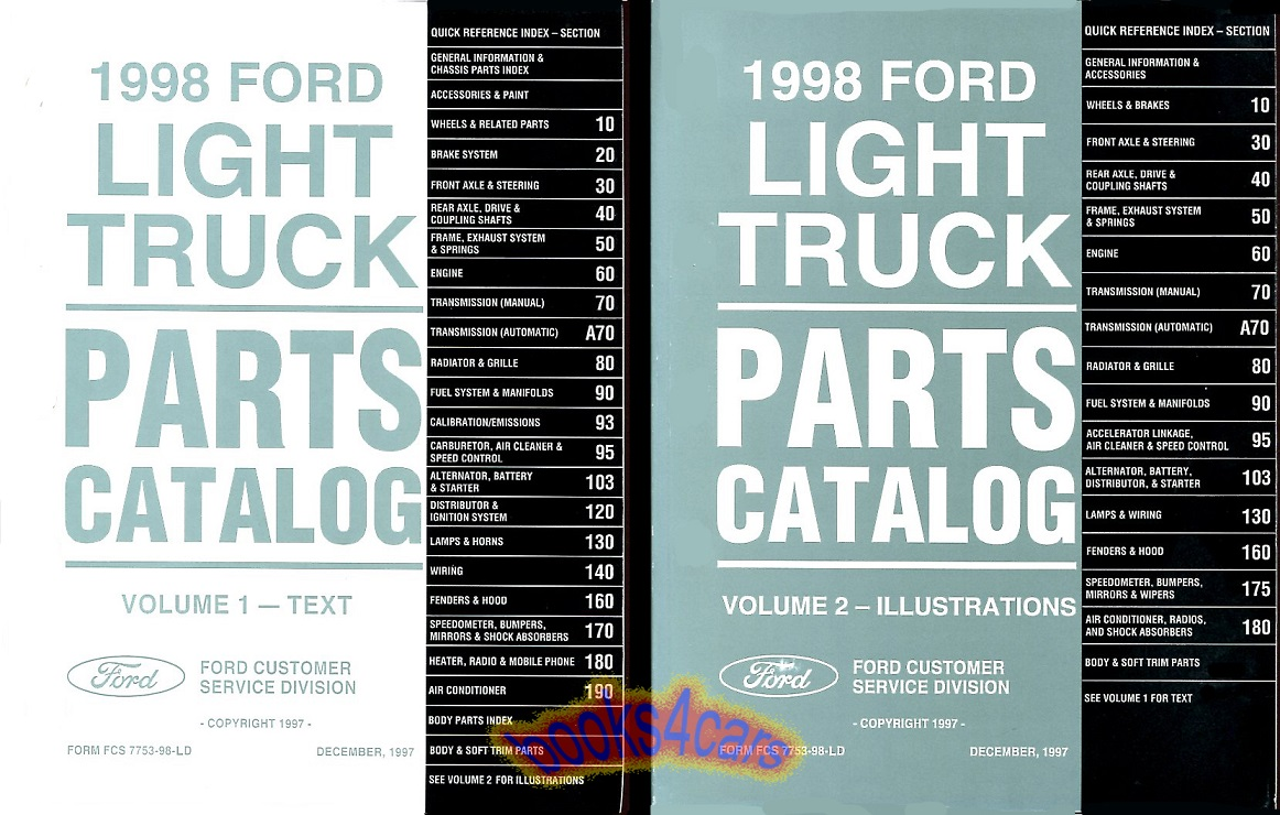 98 Parts & illustrations manual by Ford for all light duty 1/2 to one ton 1998  Ford Trucks this has parts back to about 1991 2 volume set  (98_FD7753_98_LD) ...