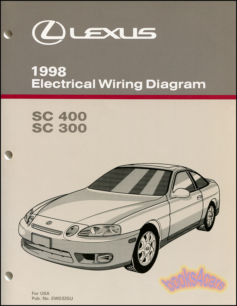 REAL BOOK Electrical Wiring Diagram Shop Manual by Lexus for 1998 SC 400 &  300 as supplied by Lexus to Lexus dealerships. Book is in very good  condition