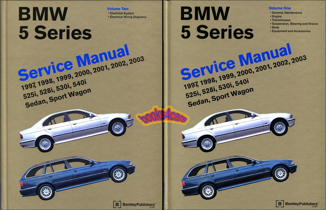REAL HARDCOVER BOOKS 2,150 pages 2-volume Set of two Large Hardcover Books  Complete Shop Service Repair Manuals covering all 1997-2003 5-series BMW  E39 ...