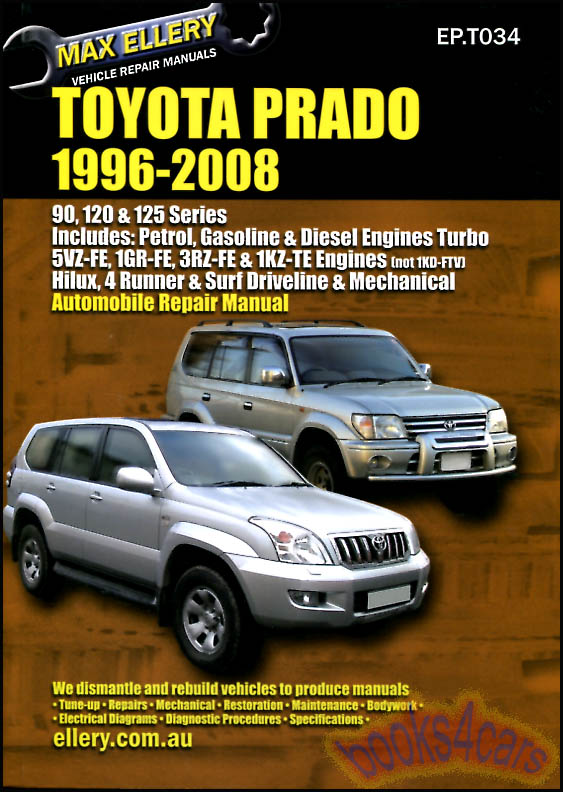 toyota land cruiser prado shop manual lexus gx470 repair service rh ebay com toyota prado txl owners manual toyota prado owners manual