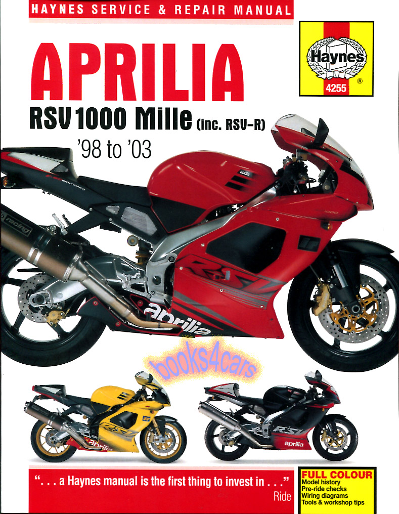Shop Manual Aprilia Rsv Mille Service R Repair 1000 Book Rsvr Ebay 03 Gsxr Color Wiring Diagram 4255