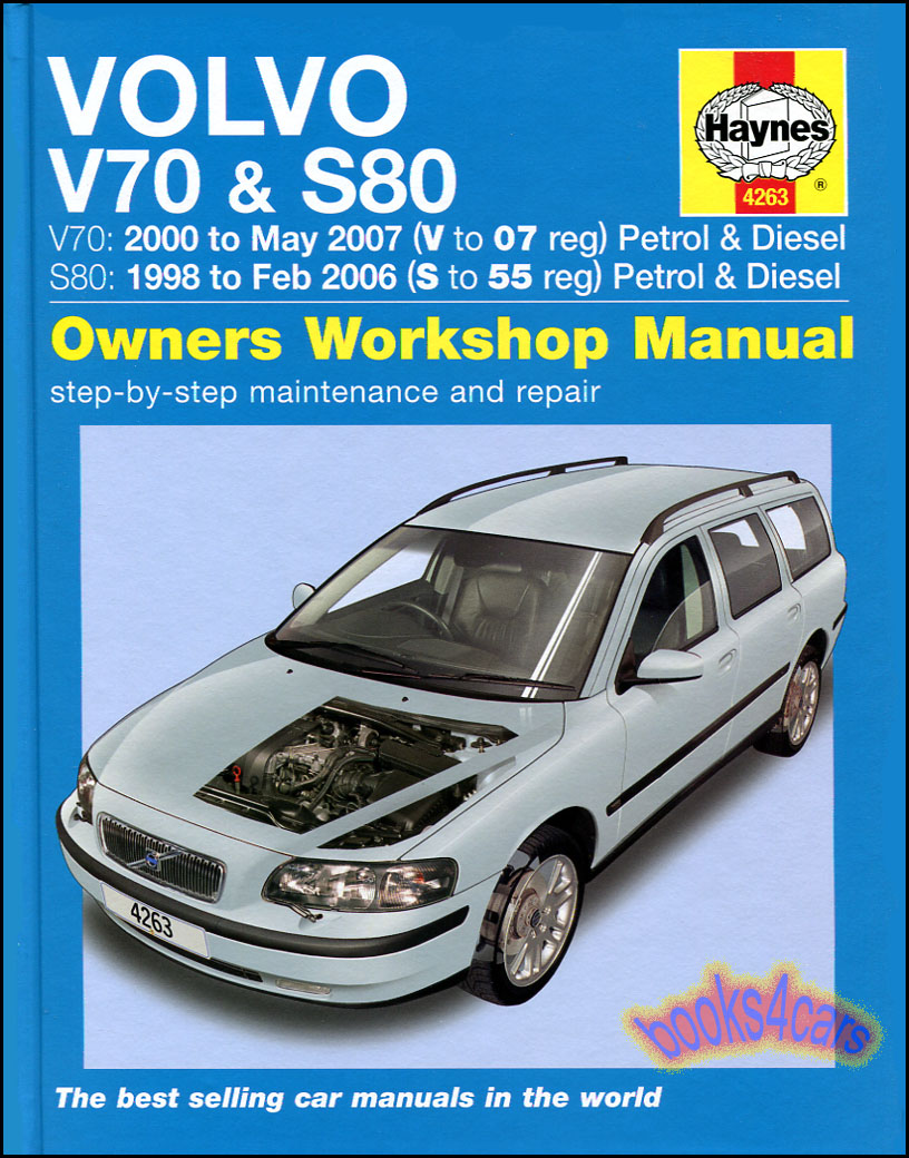 Volvo 98-06 S80 & 2000-07 V70 Shop Service Repair Manual by Haynes covers  these engines gas/petrol 2.0 2.3 2.4 2.5 turbo diesel 2.4 does not cover  AWD ...