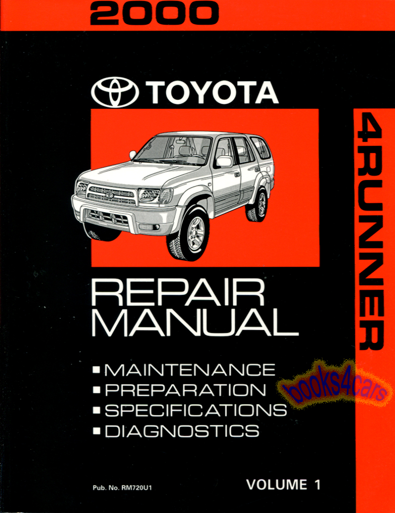 Details about SHOP MANUAL 4RUNNER SERVICE REPAIR 2000 TOYOTA BOOK