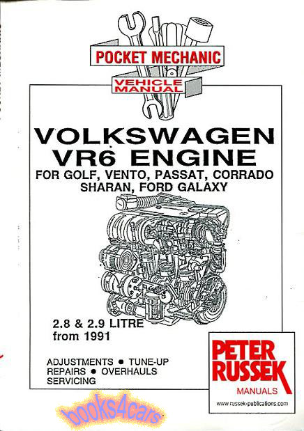 Volkswagen vr6 engine shop manual service repair book corrado.