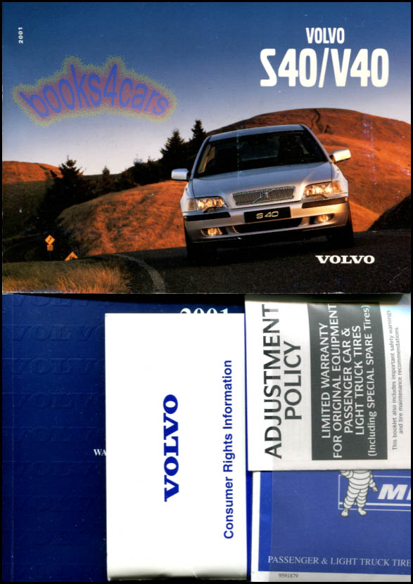 Owners Manual Volvo S40 V40 2001 Book Turbo Wagon Handbook