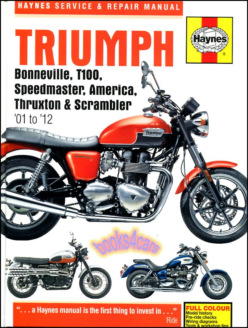 01-15 Triumph Bonneville Shop Service Repair Manual by Haynes 790 865 T100  America Speedmaster Thruxton Scrambler (B03_4364 ) span: 14 years - Model  Length: ...