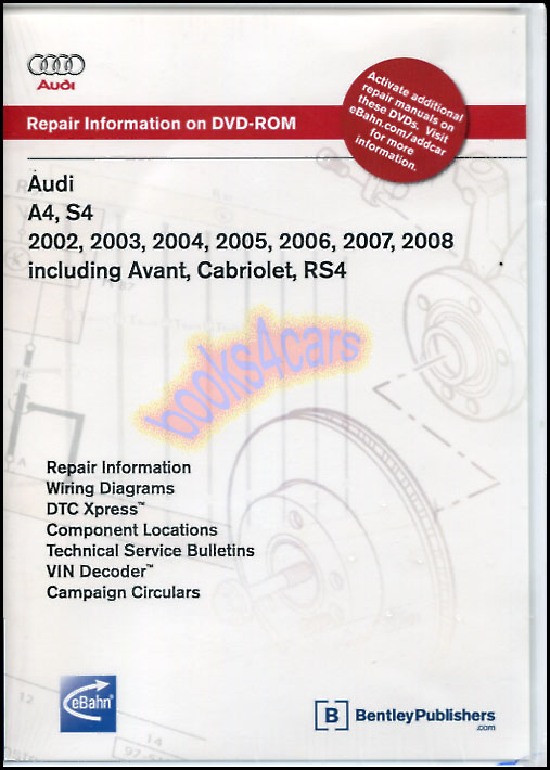 audi a4 s4 shop service repair manual dvd cd cabriolet Parts Manual Sweeper IPC Tranmission Shop Manuals For