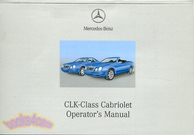 Owners manual handbook guide book cabriolet convertible 3 for Mercedes benz clk 430 repair manual