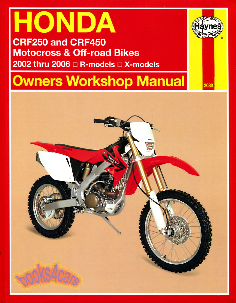 REAL BOOK Shop Service Repair Manual for all 2002-2006 versions of Honda CRF  250 & 450. Book is in New, never-opened condition