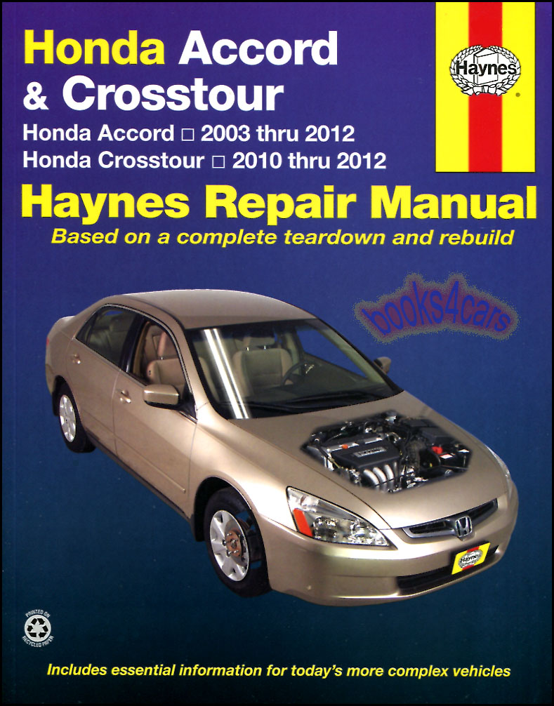 Honda accord shop manual service repair book haynes for Honda car repair