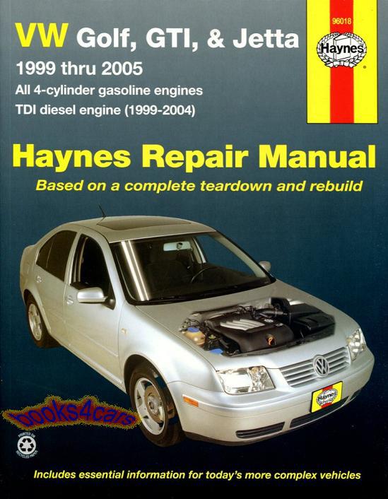 Shop Manual Volkswagen Service Repair Jetta Golf Gti Haynes Book Guide 1999